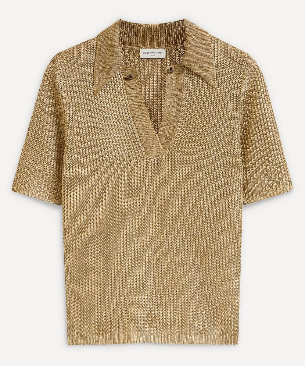 Dries Van Noten - Metallic Polo Top