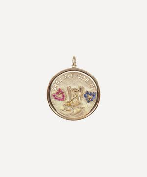 Gold Grow Old With Me Ruby and Sapphire Medallion Charm