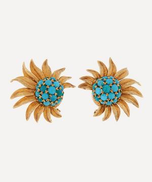 Gold 1960s Turquoise Sunflower Earrings