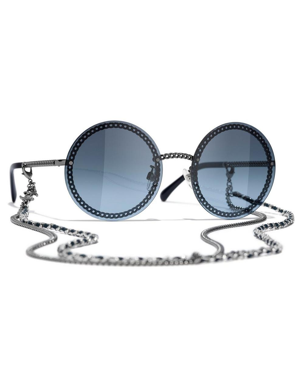 Chanel - Round Sunglasses with Removable Chain