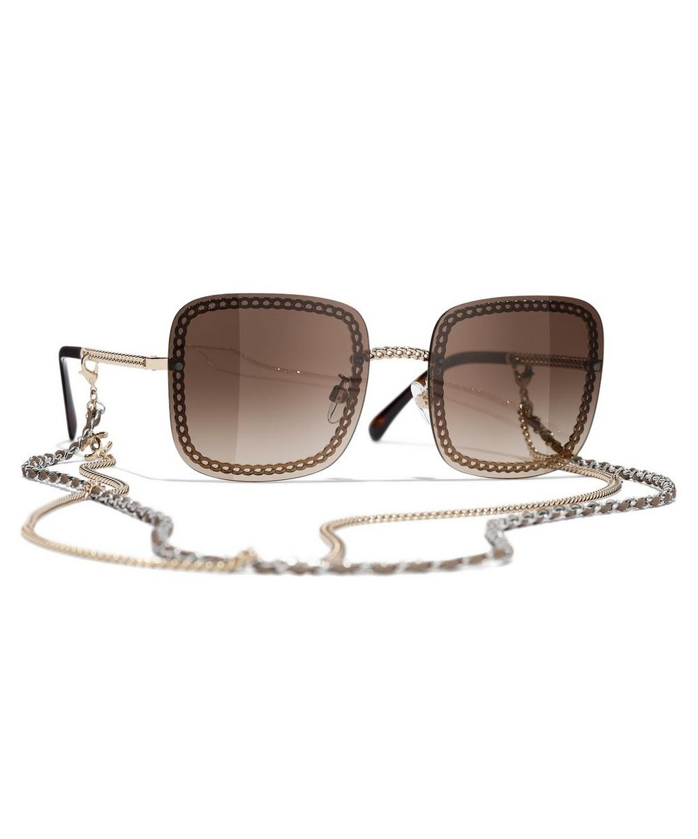 Chanel - Square Sunglasses with Removable Chain