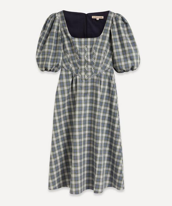 ALEXACHUNG - Puff-Sleeve Gingham Corset Dress
