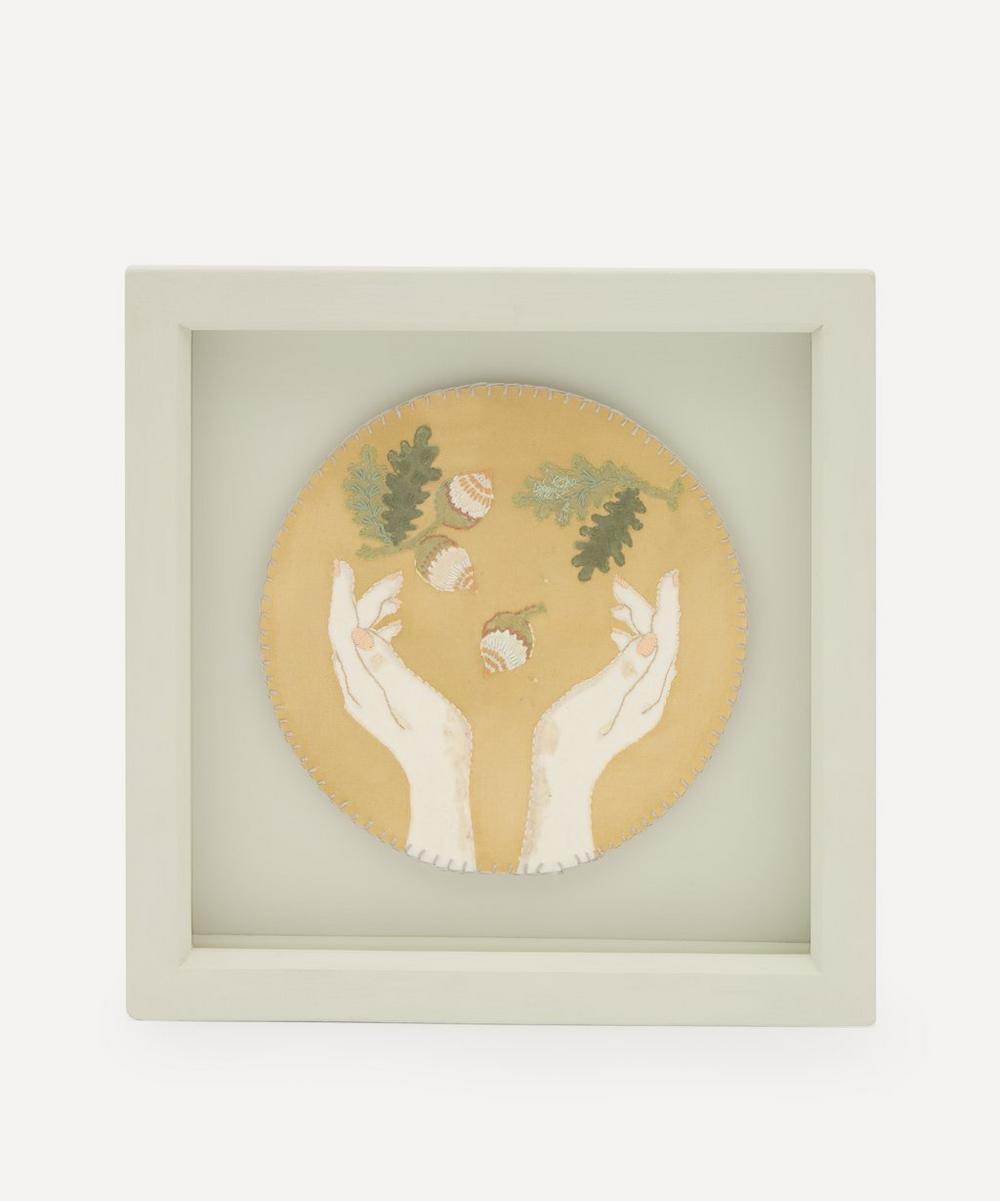 Elizabeth Loveday - Hands Juggling Acorns Framed Embroidery