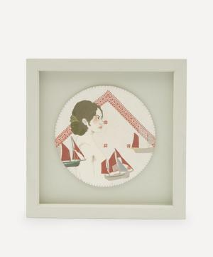 Lady with Boats Framed Embroidery
