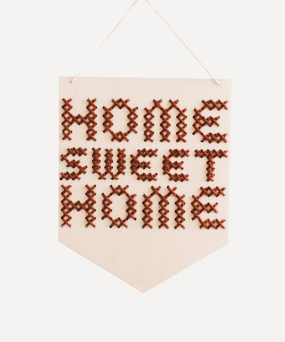 Cotton Clara - Home Sweet Home Wooden Banner Cross Stitch Kit
