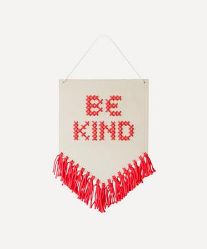 Be Kind Tasselled Wooden Banner Cross Stitch Kit
