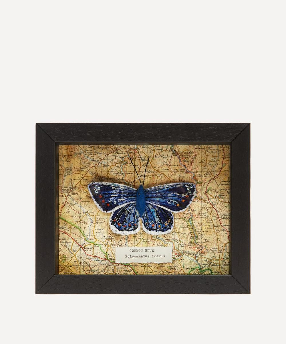 Heather Everitt - Common Blue Embroidered Butterfly Framed