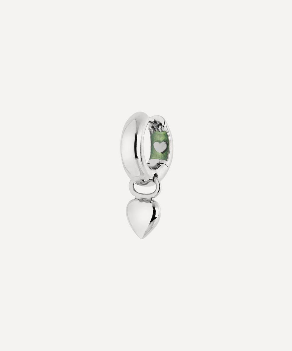 Maria Black - White Rhodium-Plated Aya Huggie Hoop Earring