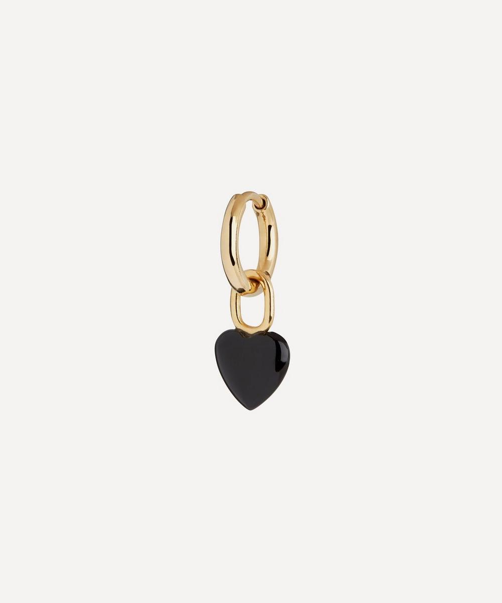 Maria Black - Gold-Plated Raise Onyx Heart Huggie Hoop Earring