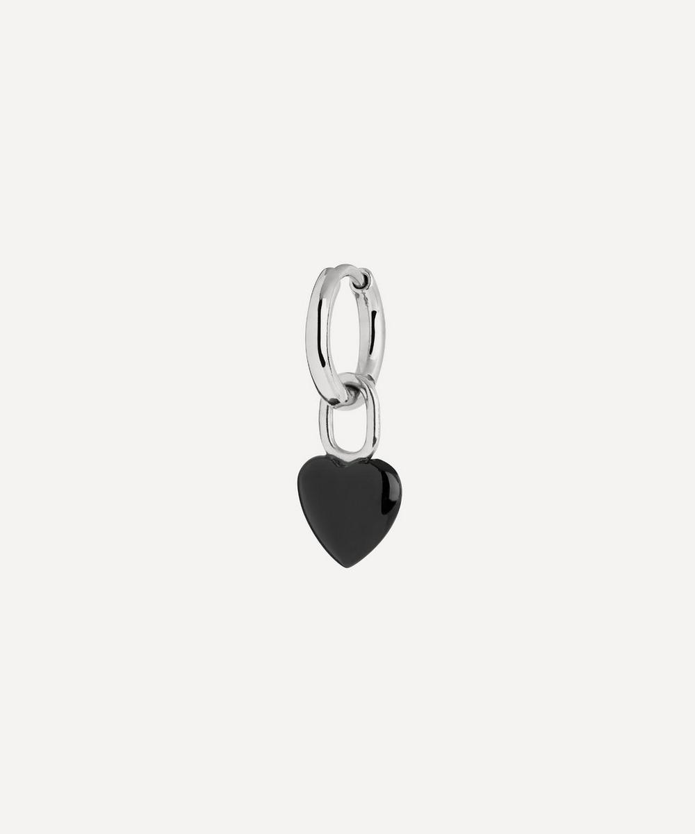 Maria Black - White Rhodium-Plated Raise Onyx Heart Huggie Hoop Earring