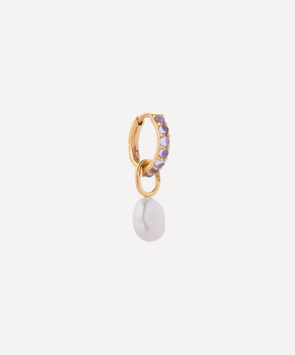 Maria Black - Gold-Plated Globo Cielo Pearl and Violet Glass Crystal Huggie Hoop Earring