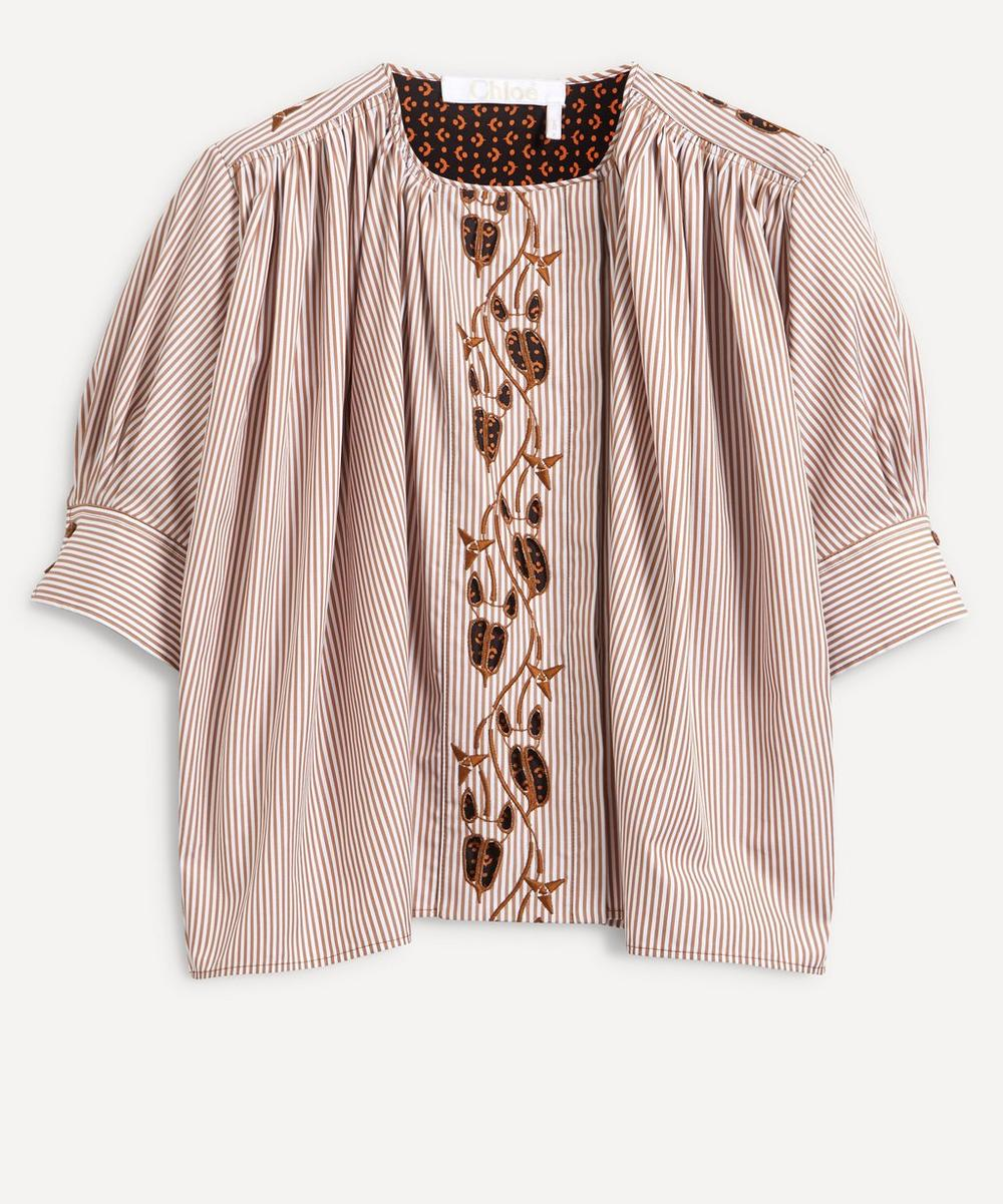 Chloé - Stripe Embroidered Cotton Blouse