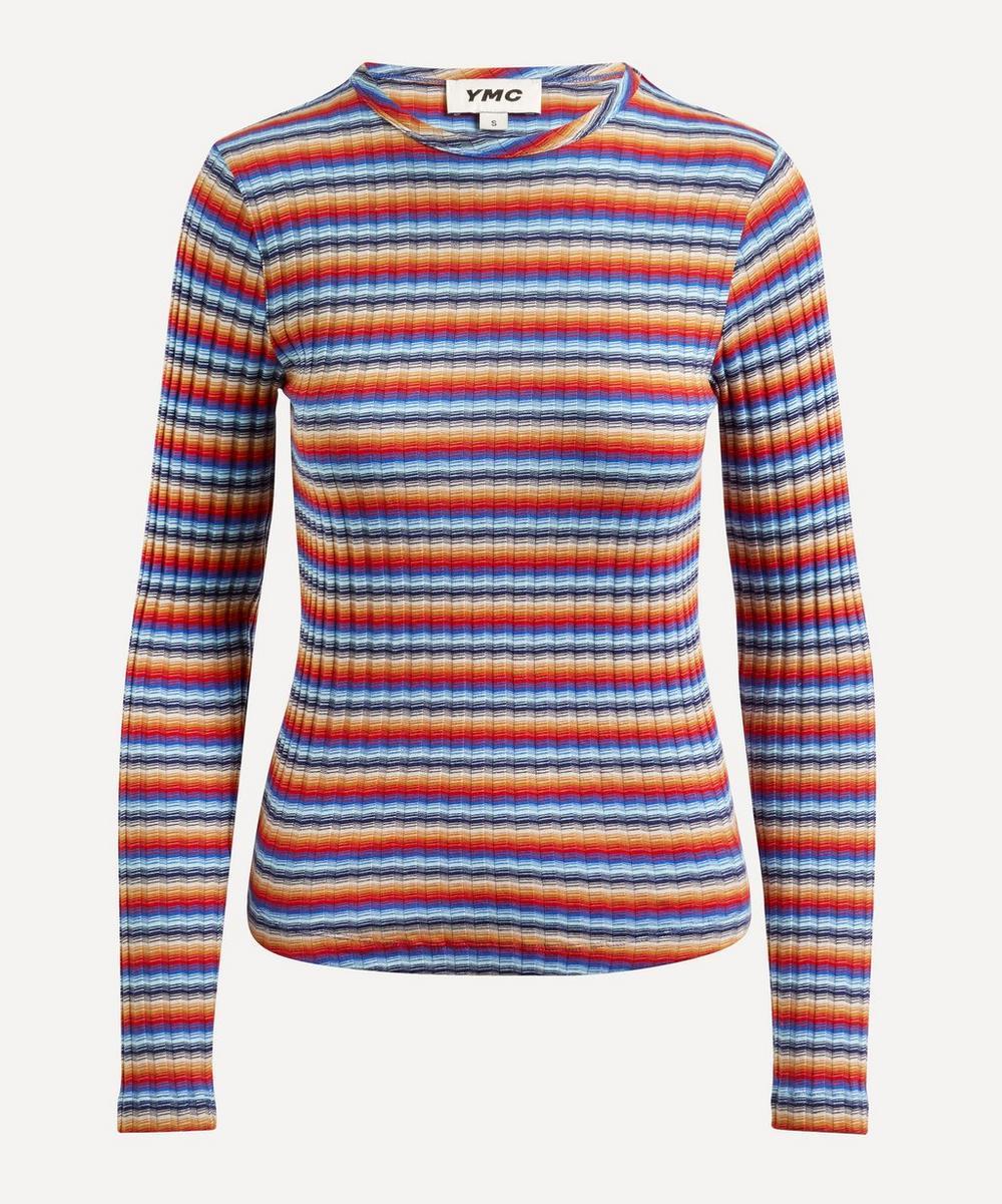 YMC - Raindrops Striped Ribbed Long-Sleeve T-Shirt