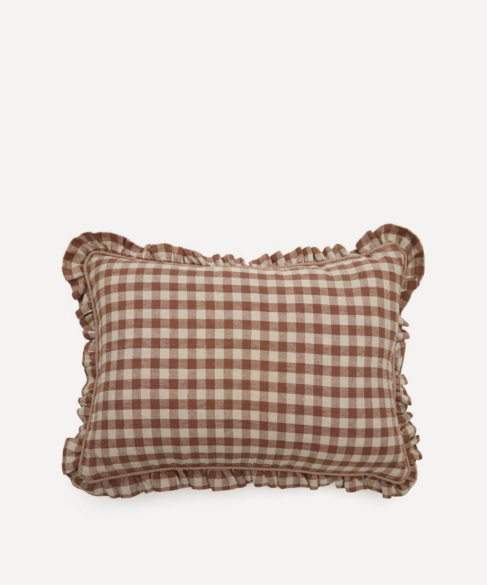 Projektityyny - Wes Gingham Frill Linen Cushion