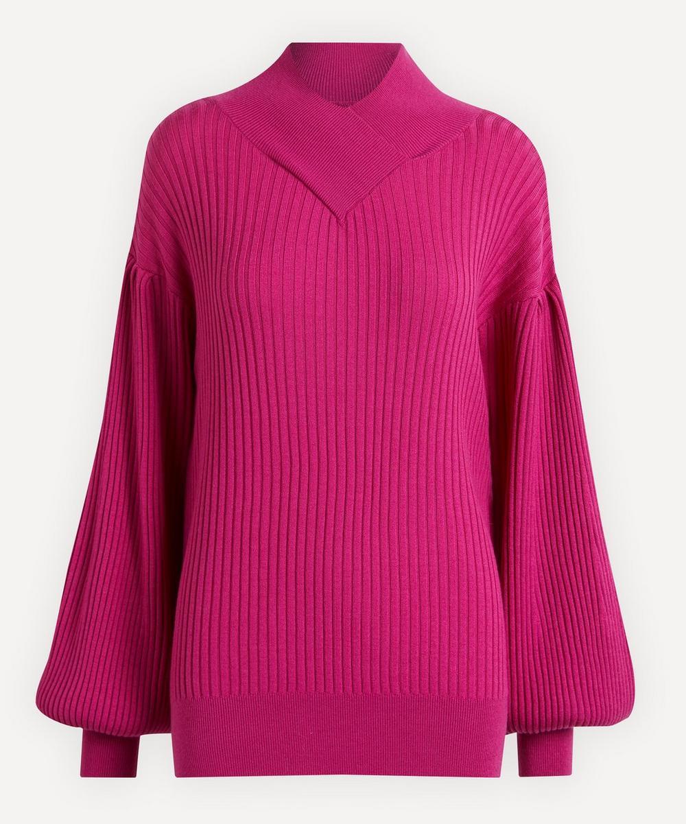 King & Tuckfield - Wrap-Neck Balloon-Sleeve Merino Wool Knit Jumper