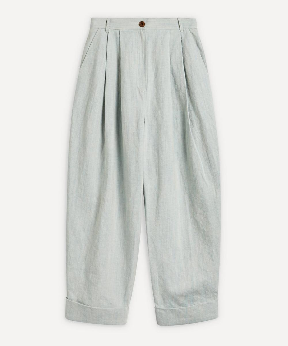 King & Tuckfield - Pleated Cuffed Cotton-Linen Trousers