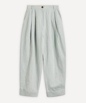 Pleated Cuffed Cotton-Linen Trousers