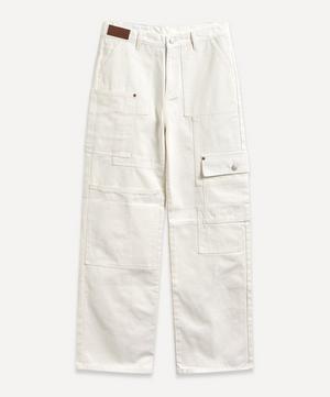 Tonal Patchwork Wide-Leg Jeans