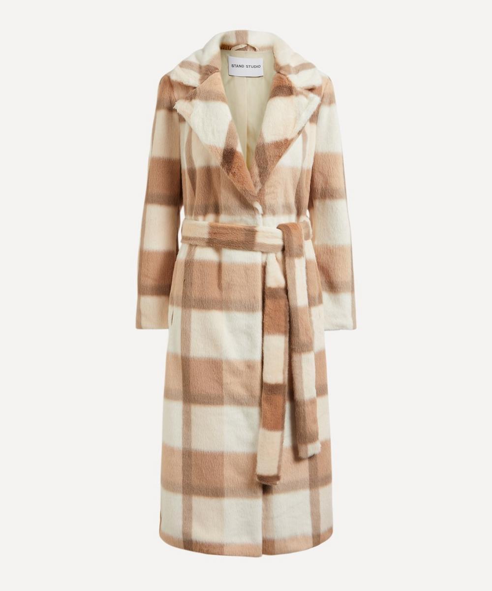 STAND STUDIO - Juliet Faux-Fur Check Coat