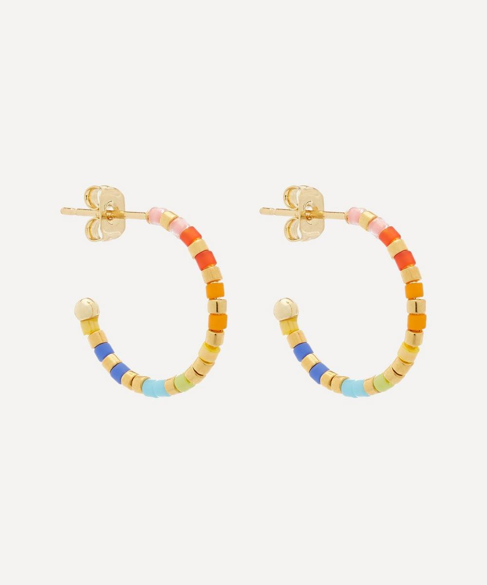 Estella Bartlett - Gold-Plated Rainbow Beaded Hoop Earrings