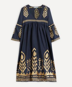 Feather Embroidered Midi-Dress