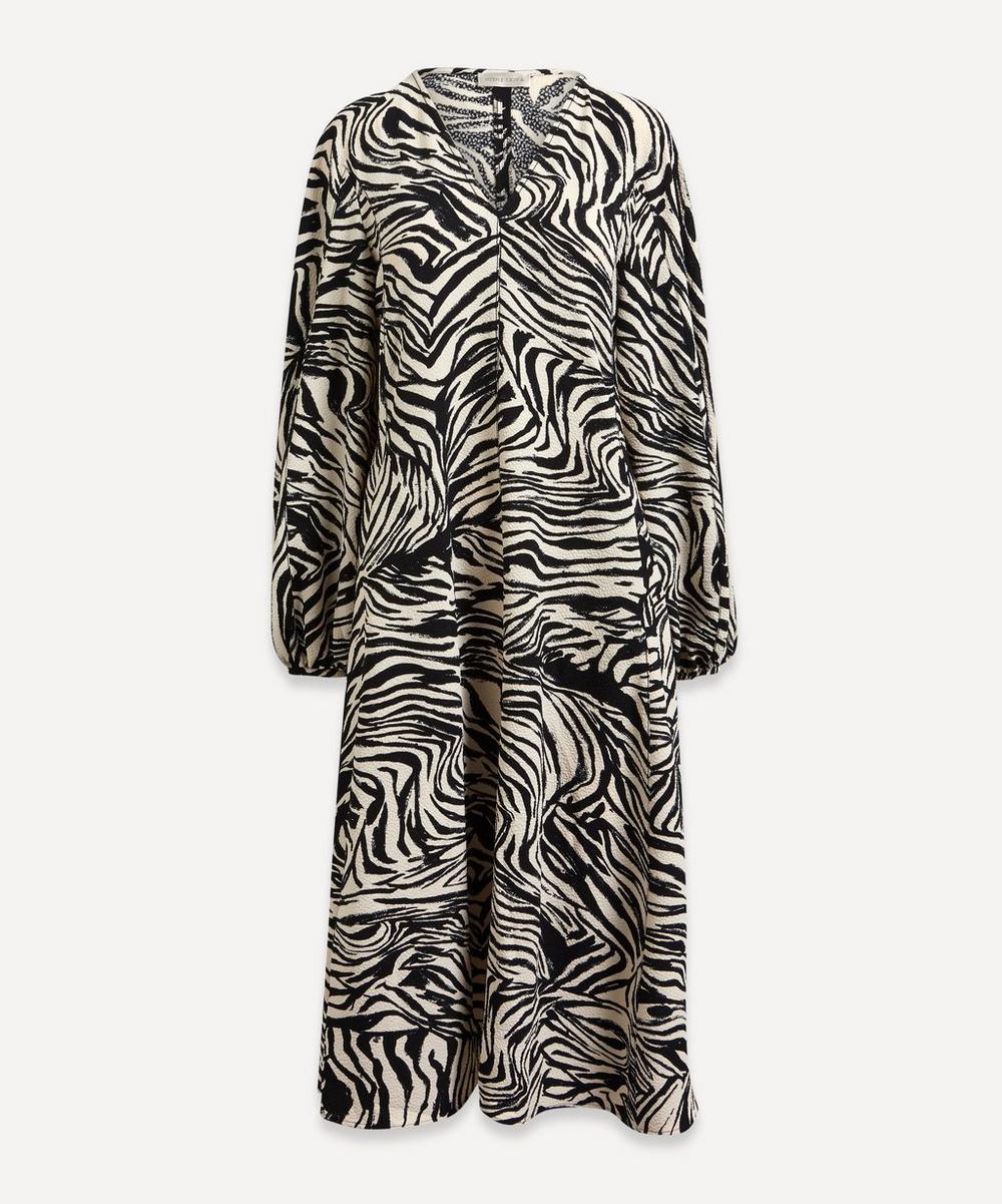 Stine Goya - Rosen Zebra-Print V-Neck Balloon-Sleeve Dress