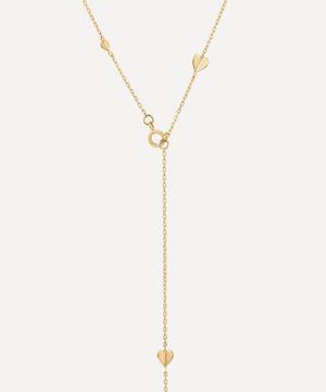 Gold Bijou Folded Heart Lariat Necklace