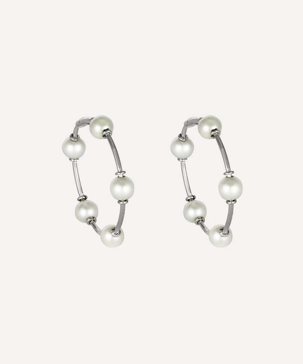 Kojis - White Gold Pearl Hoop Earrings