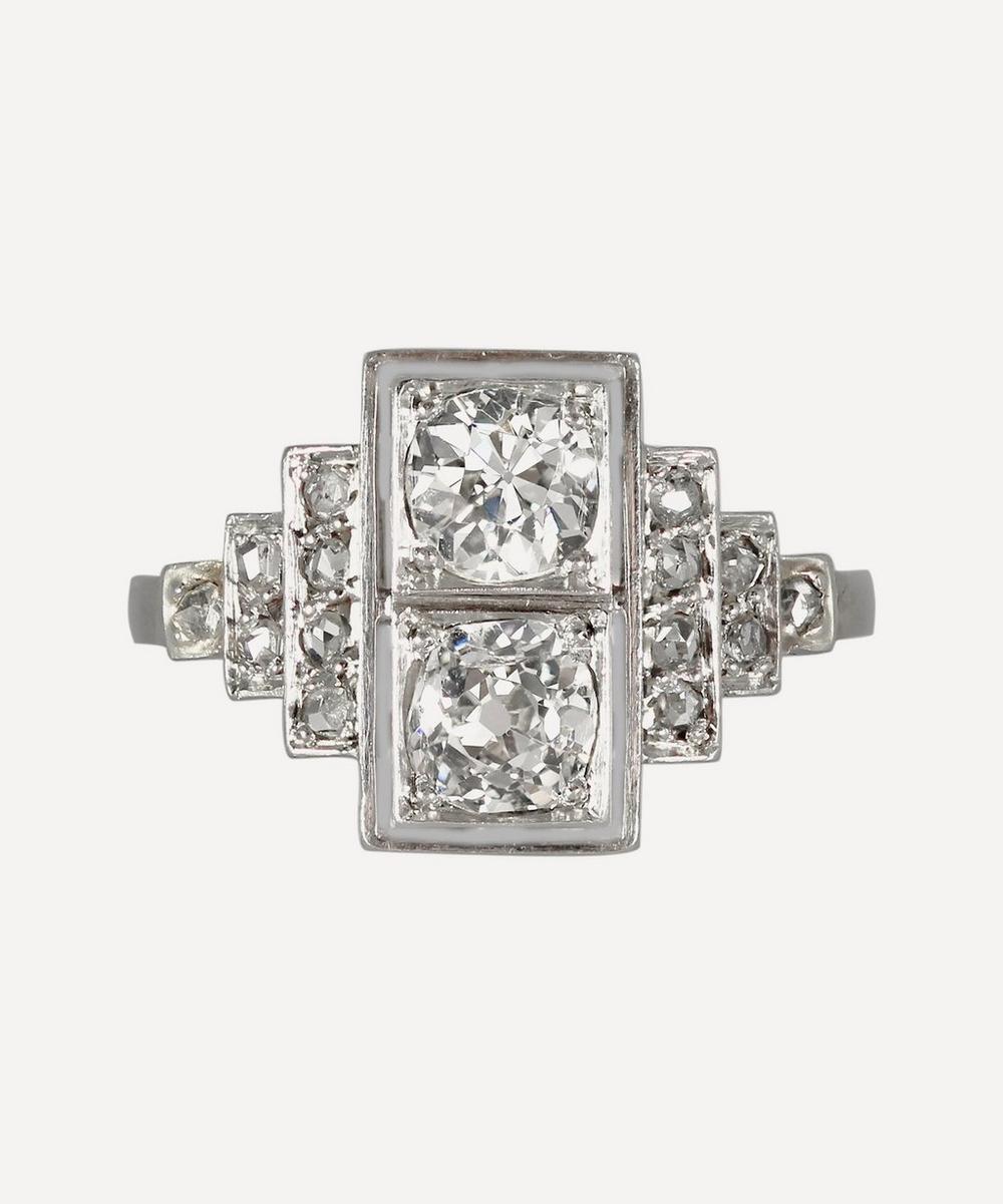 Kojis - White Gold Art Deco Diamond Plaque Ring