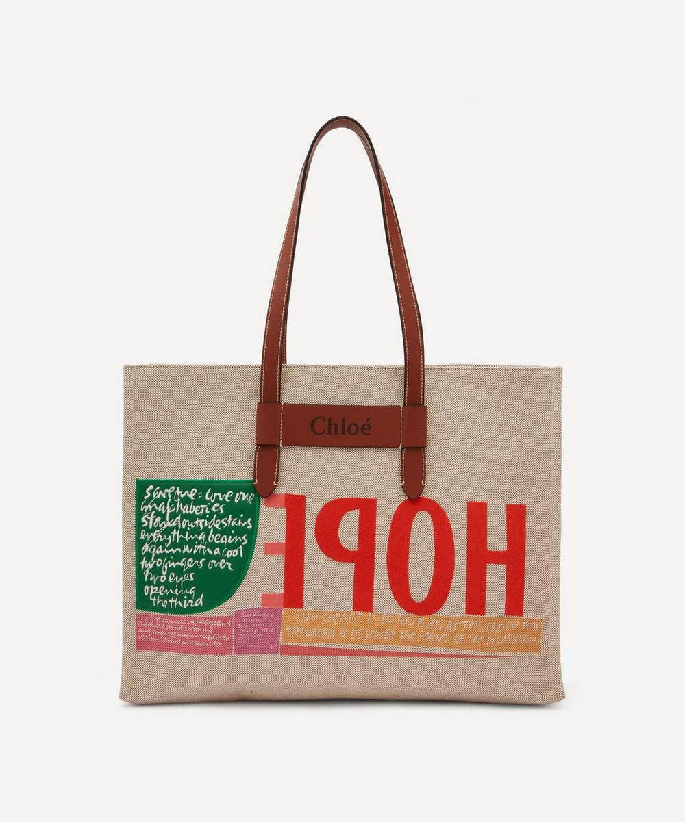 Chloé - Corita Kent Large Embroidered Cotton Canvas Tote Bag