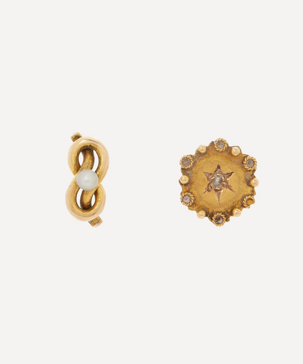 Annina Vogel - Pearl Love Knot and Rose Cut Diamond Disc Mismatched Gold Stud Earrings
