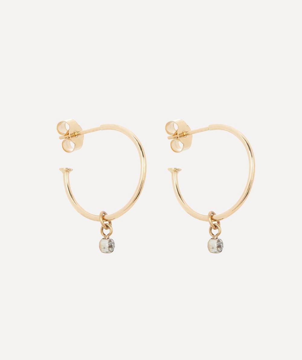 Annina Vogel - Old Cut Diamond Small Gold Drop Hoop Earrings