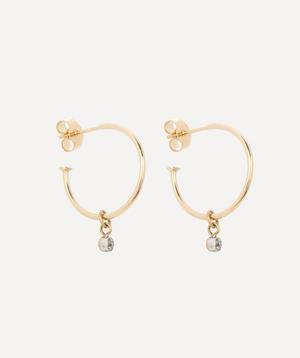 Old Cut Diamond Small Gold Drop Hoop Earrings