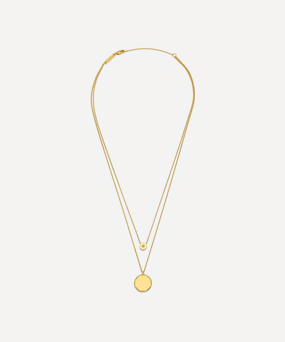 Estella Bartlett - Gold-Plated Double Chain Cubic Zirconia Slider and Disc Pendant Necklace