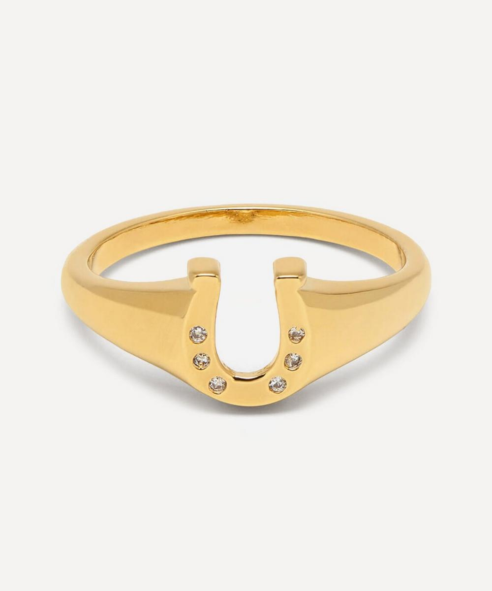 Estella Bartlett - Gold-Plated Cubic Zirconia Lucky Horseshoe Signet Ring