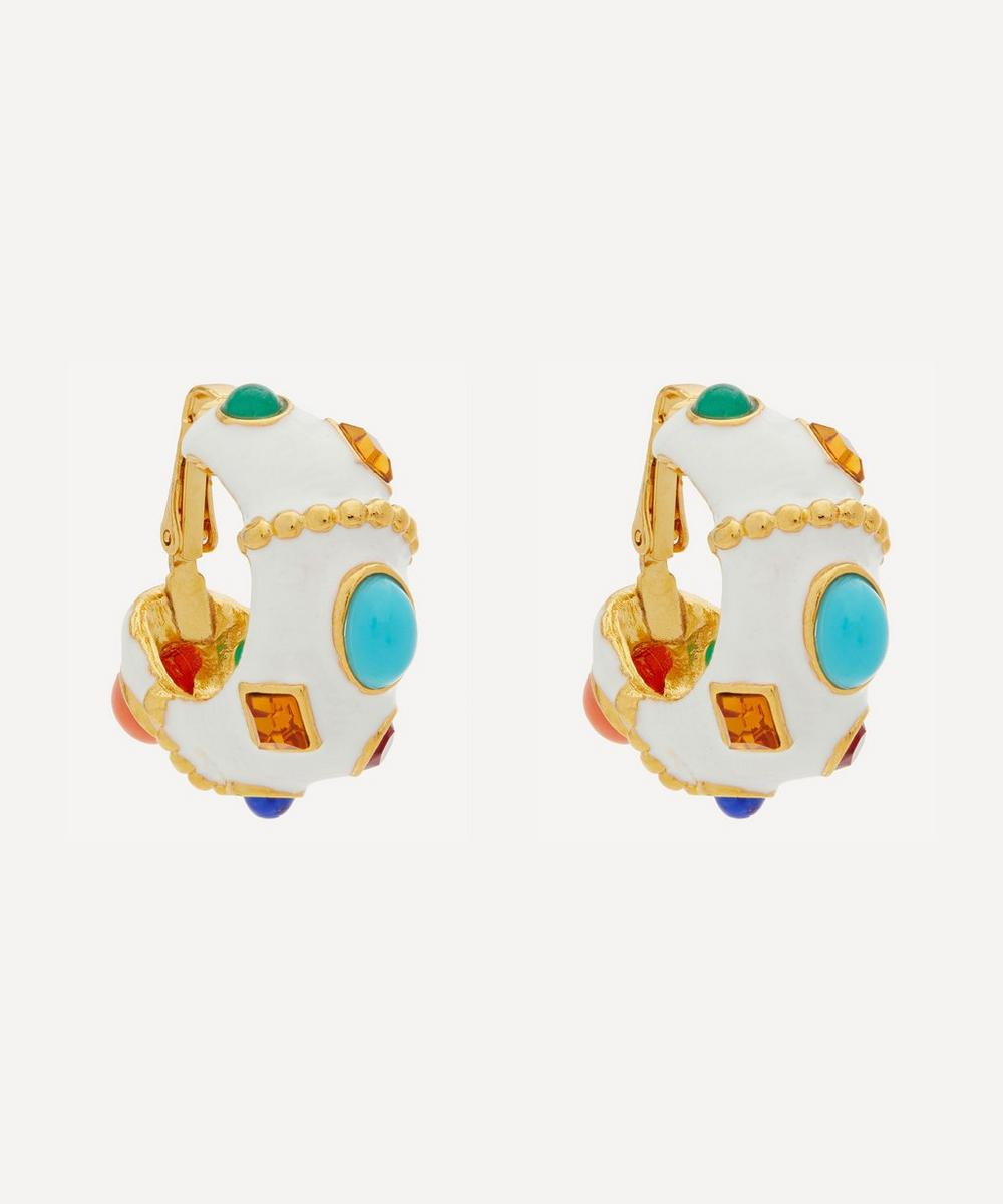 Kenneth Jay Lane - Gold-Plated Enamel Multi-Stone Hoop Earrings