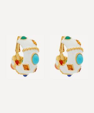 Gold-Plated Enamel Multi-Stone Hoop Earrings
