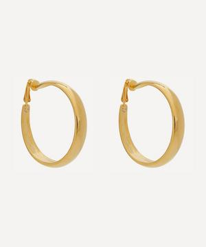 Gold-Plated Tapering Clip-On Hoop Earrings