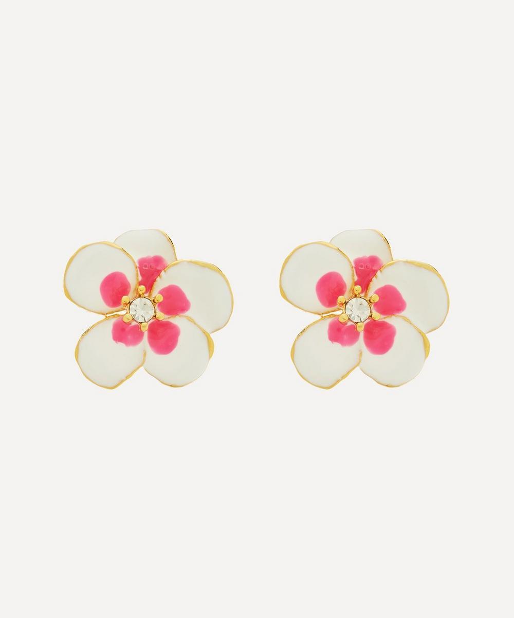 Kenneth Jay Lane - Gold-Plated Enamel Crystal Flower Stud Earrings