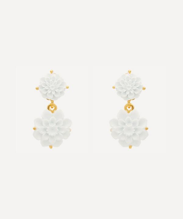 Kenneth Jay Lane - Gold-Plated Carved Resin Flower Clip-On Drop Earrings