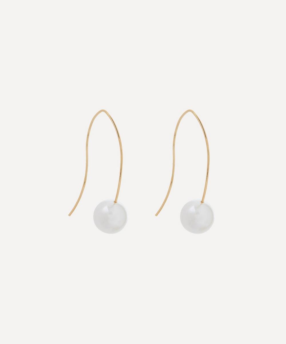 Kenneth Jay Lane - Gold-Plated Faux Pearl Wire Drop Earrings