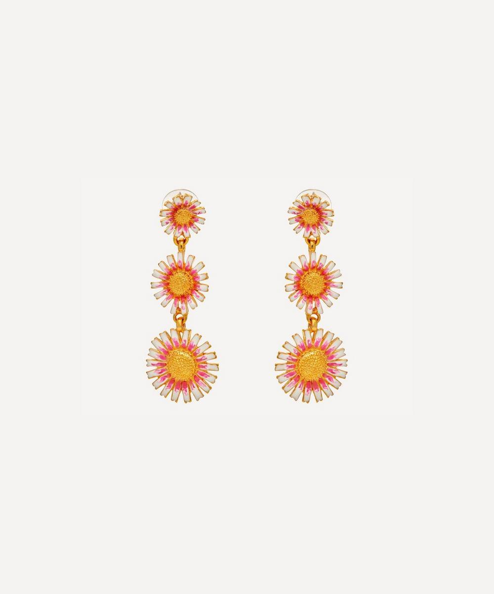 Kenneth Jay Lane - Gold-Plated Three Graduating Enamel Daisy Clip-On Drop Earrings