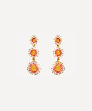 Gold-Plated Three Graduating Enamel Daisy Clip-On Drop Earrings