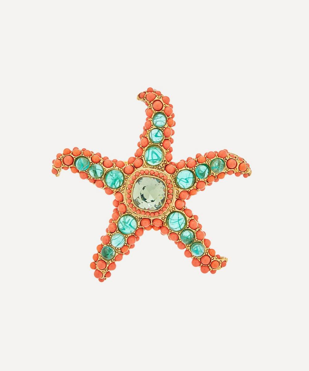 Kenneth Jay Lane - Gold-Plated Coral Resin Cabochon and Crystal Peridot Starfish Brooch