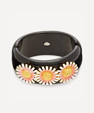 Gold-Plated Enamel Daisy Resin Cuff Bracelet