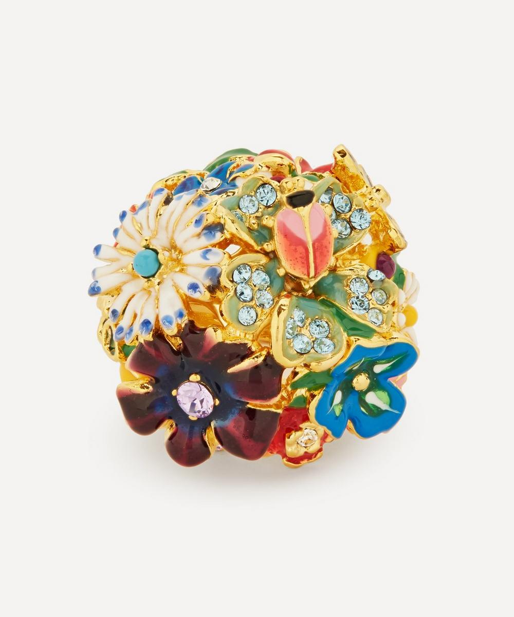 Kenneth Jay Lane - Gold-Plated Garden Party Enamel and Crystal Flower Dome Ring