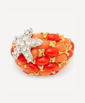 Gold-Plated Coral Resin Cabochon and Crystal Starfish Ring