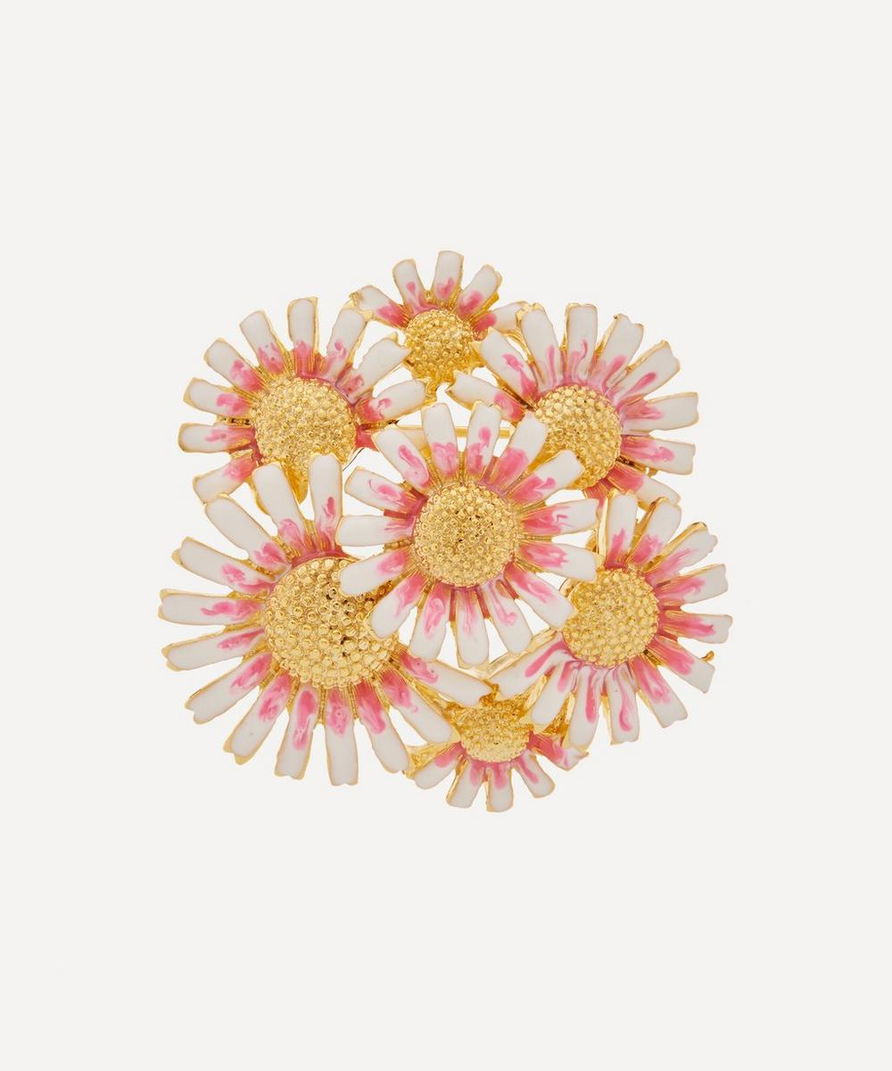 Kenneth Jay Lane - Gold-Plated Enamel Daisy Cluster Brooch