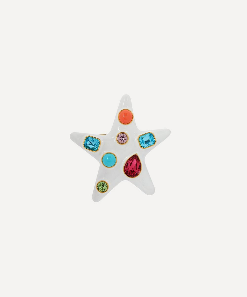 Kenneth Jay Lane - Gold-Plated Enamel Multi-Stone Star Brooch