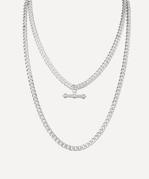 Silver-Plated 1980s Curb Chain Necklaces Set of Two